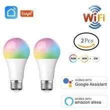 2 pçs/lote wi fi inteligente lâmpada rgb + w c led e27 9 multicolorido luz vida inteligente tuya app temporizador trabalho com amazon alexa casa do google