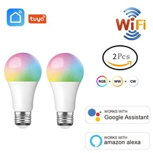 2 개/몫 와이파이 스마트 전구 rgb + w + c led 램프 e27 9 w 여러 가지 빛깔의 빛 스마트 라이프 tuya app 타이머 아마존 알렉사 구글 홈 작업