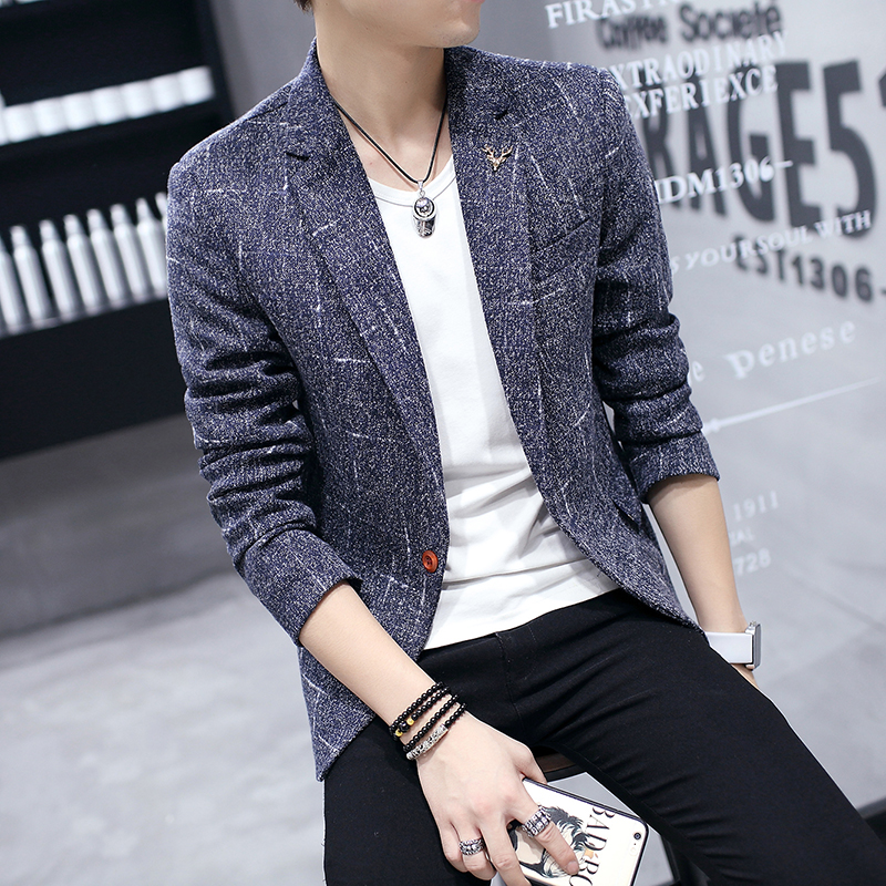 2019 New Autumn Winter Mens Classic Print Slim Fit Blazers Male Single Button Casual Business Suit Jacket Blue black gray Coats