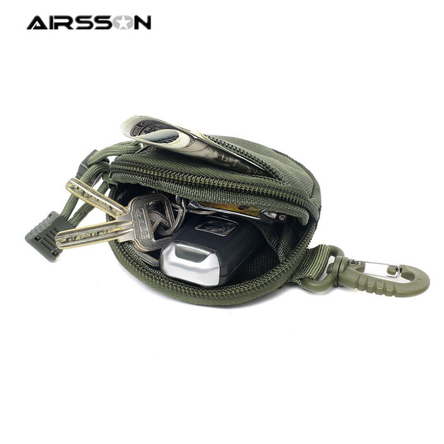 Tactical Mini Round Coin Purse Earphone Key Bag with Hook Sports Outdoor Pocket