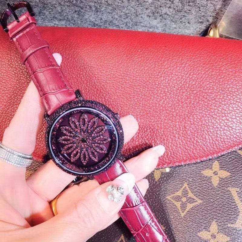 relógio quartzo flor cristal feminino relógios relógio