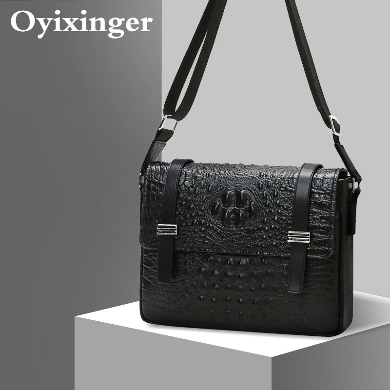 Man Messenger Bag Genuine Leather Crocodile Texture Small Men Bags Of Satchel Layer Cowhide Briefcase Bandolera Hombre Sac Homme