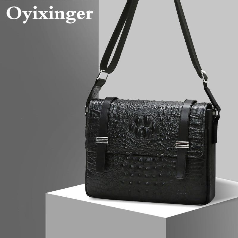 Man Messenger Bag Genuine Leather Crocodile Texture Small Men Bags Of Satchel Layer Cowhide Briefcase Bandolera Hombre Sac Homme