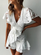 2019 Autumn Women White V-Neck Mini Dress Female A-line Prom Casual Dress Ladies Pom Pom Crochet Lace Ruffles Dress lace insert high neck a line mini dress