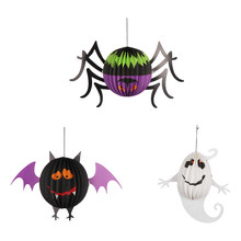 1 PC Lucu Halloween Horror Spider Bat Liontin Bola Kertas Honeycomb Dekorasi dan Alat Peraga Gantung untuk Bar Pesta Rumah ornamen(China)