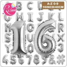 16 polegada prata a-z 0-9 opcional diy número da letra balão folha de alumínio balões de hélio festa de casamento decoração