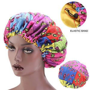 Ladies Turban Hair-Bonnet-Satin Sleep-Cap Print-Fabric Extra Large Ankara African Lined