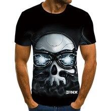 2021 nova camisa masculina de manga curta com estampa de caveira masculina de verão 2021 camiseta casual 3d respirável e camis
