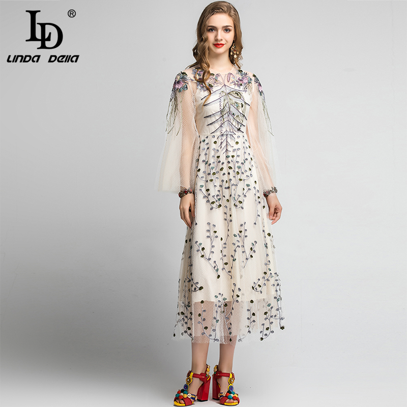 LD LINDA DELLA 2020 Spring Fashion Runway Elegant Party Dress Women's Long Sleeve Vintage Mesh Flower Floral Embroidery Dress
