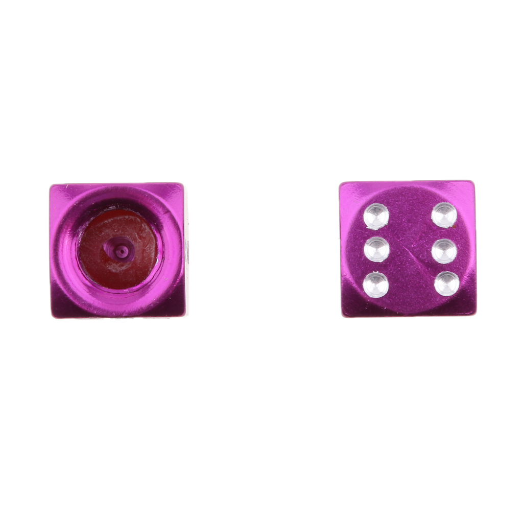 4x Dice Car Truck Motor Bike ATV Tire Air Valve Stem Caps Wheel Rims Purple
