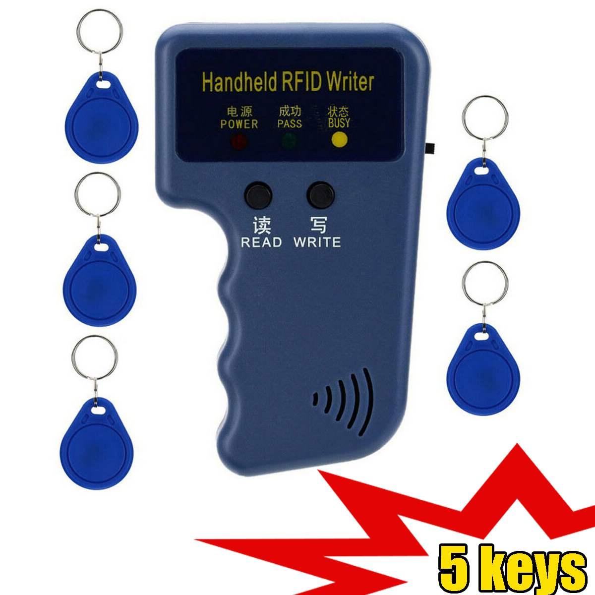 EM4100 125KHz Handheld RFID Schriftsteller Tragbare Programmierer Kopierer T5577 5200 EM4305 Replicable ID Keychain Identifizierung Karte