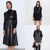 2019 ZA Vintege Fashion Houndstooth Shirt Dress Woemn Autumn Clothiong Female Casual Glossy Leather Dress Office Lady Wholesale