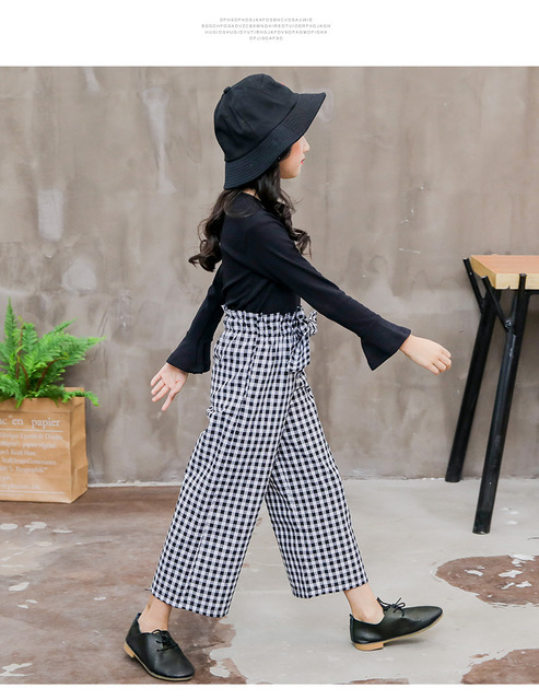 2019 Kids Girls Clothes Sets Long Sleeve T-shirts + Plaid Wide Leg Pants  Autumn Children's Clothing Teenage for 7 8 10 12 Years 4