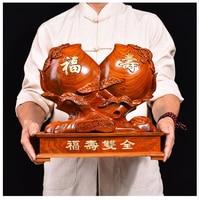 38CM Large GOOD gift HOME Spiritual Mascot # FU SHOU SHUANG QUAN Handmade Rosewood carving Longevity Peaches FENG SHUI statue