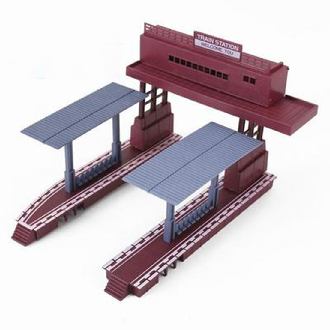 1:87 HO Scale Railway Scene Decoration Station Model For Sand Table Building