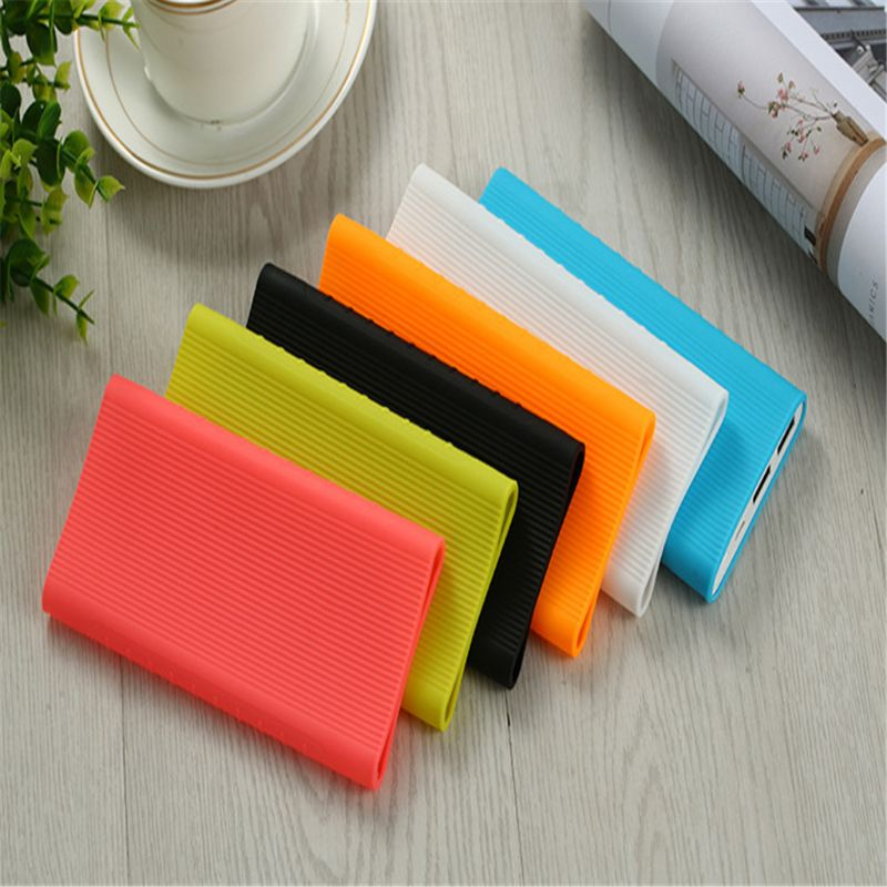 1X Silicone Protector Case Cover For Xiaomi Power Bank 2 10000 mAh Dual USB Port Skin Shell Sleeve For Power bank Model PL