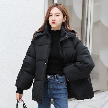 Koreański styl zimowe damskie puchowe kurtki Oversize luźne z kapturem damskie bufiaste kurtki krótkie wyściełane solidne damskie puchowe tanie i dobre opinie chu mark CN (pochodzenie) Zima WOMEN Stałe 092D02 REGULAR 0 85kg Na co dzień Kieszenie Zamki Osób w wieku 18-35 lat zipper