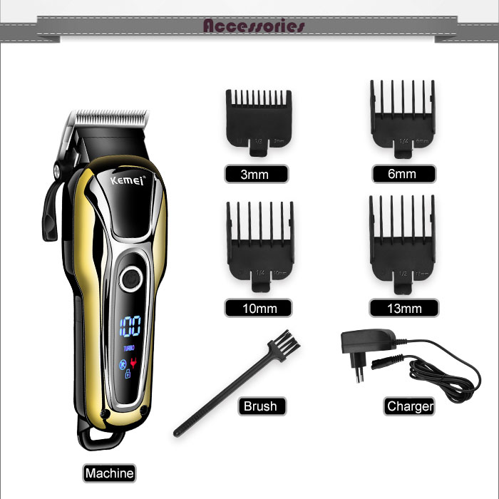 Image 4 - 100 240V kemei rechargeable hair trimmer professional hair clipper hair cutting beard electric razor hair shaving machineHair Clippers   -