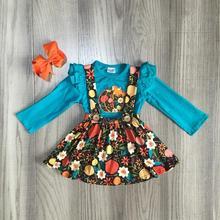 เด็กหญิง 2 pcs เสื้อผ้าหญิงฤดูใบไม้ร่วงชุดสาวฮาโลวีนชุดสาวชุดดอกไม้ฟักทองพิมพ์โบว์