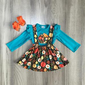 Image 1 - children girls 2 pcs clothes girls fall dress girls Halloween dress girls floral dress pumpkin print with bow