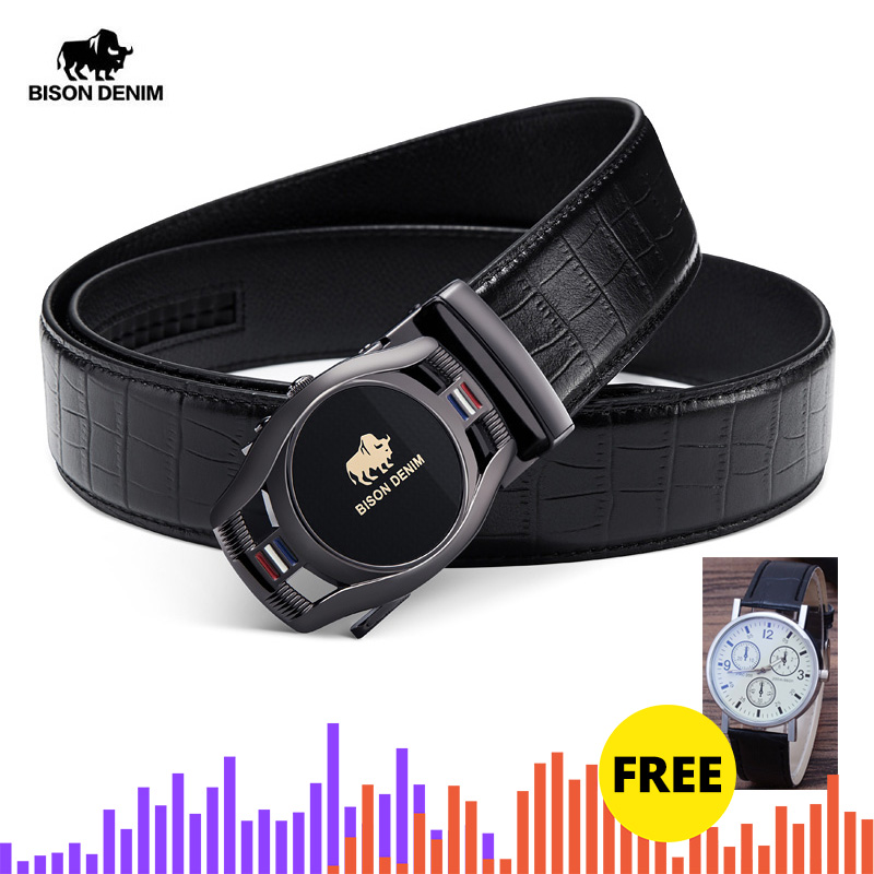 BISON DENIM Brand Fashion Men Belt Automatic Buckle Genuine Leather Belt Men's Belts Cow Leather Belts For Men N71446