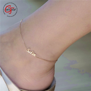 Goxijite Custom Name Anklet For Women Girl Personalized Foot Nameplate Jewelry Stainless Steel Letter Ankle Bracelets Gift