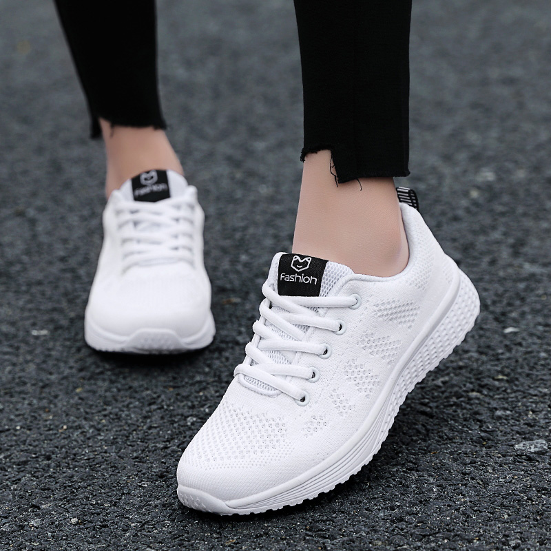 2020 Women Shoes Flats Fashion Casual Ladies Walking Woman Lace-Up Mesh Breathable Female Sneakers Zapatillas Mujer Feminino 11