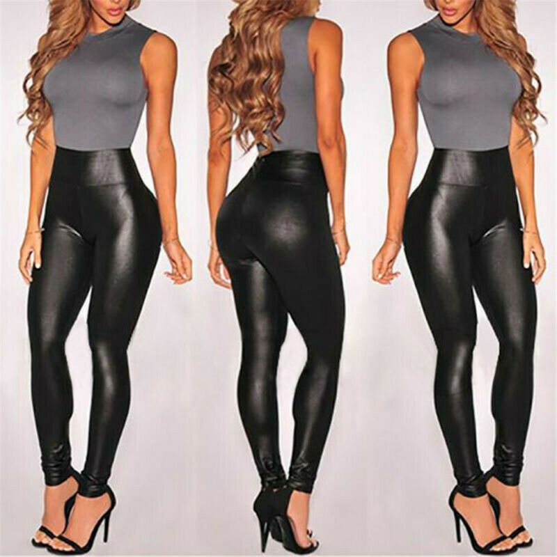 Summer Black Faux Leather Leggings For Women High Waist Skinny Push Up Leggings Sexy title=