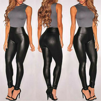 Summer Black Faux Leather Leggings For Women High Waist Skinny Push Up Leggings Sexy Elastic Trousers Ladies Stretch Leggings contrast faux leather elastic waist leggings