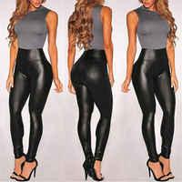 Summer Black Faux Leather Leggings For Women High Waist Skinny Push Up Leggings Sexy Elastic Trousers Ladies Stretch Leggings