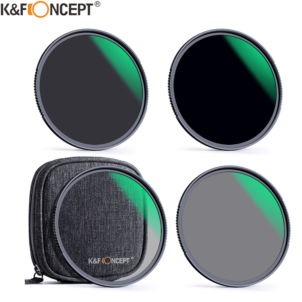 K&F Concept 4pcs ND4 ND8 ND64 ND1000 Filter kits for Camera Lens with Filter Pouch 49mm 52mm 55mm 58mm 62mm 67mm 72mm 77mm 82mm