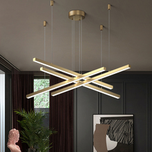 Modern minimalist office long line chandelier lighting shop exhibition hall strip lamp for dining living room LED chandeliers
