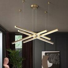Moderne minimaliste bureau longue ligne lustre éclairage magasin exposition hall bande lampe pour salle à manger salon LED lustres