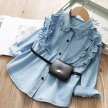 Весенняя джинсовая рубашка для девочек с черной сумкой из искусственной кожи