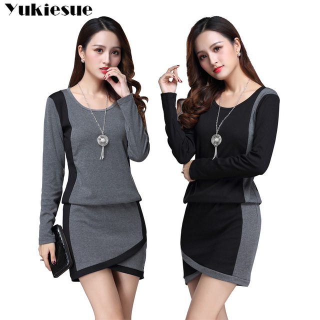 winter office OL dresses for women skinny women's dress long sleeve black maxi party long sexy bodycon dress female Plus size 2