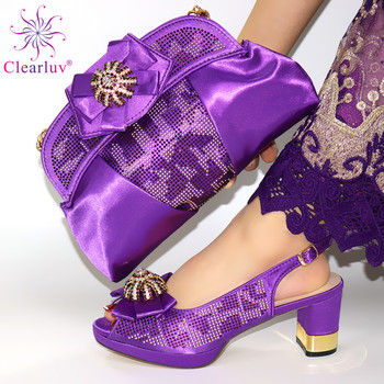 2020-purple New Arrrival Matching Shoes and Bag Set Decorated with Rhinestone Italian Shoe and Bag Set for Party