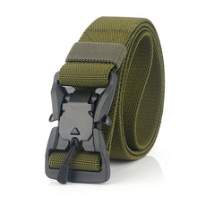 2020 High Quality Men Elastic Belt Aluminum Alloy Black Pluggable Buckle Tactical Belts Male Jeans Army Green Canvas Belts