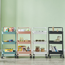 3-Tier Rolling Utility Cart Kitchen Trolley Rolling Storage Cart with Lockable Wheel and Handle Multifunction Heavy Duty