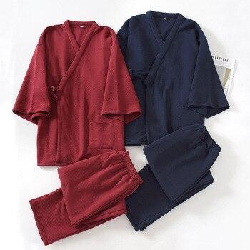 Invierno de los hombres japoneses Kimono Set de pijamas de algodón capa de aire engrosamiento pantalones de servicio de la casa de dos piezas traje de Kimono Pijama Hombre