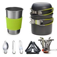 Camping Cookware Stove Carabiner Canister Stand Tripod and Stainless Steel Cup Tank Bracket Fork Knife Spoon Kit for Picnic