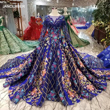 LSS429 dubai colorful evening dresses with long train o neck long sleeves luxury party dress long women occasion dresses muslim