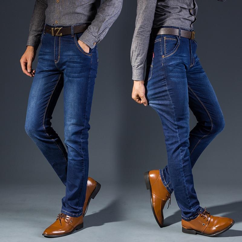 2018 New Style Men's Jeans Men Business Large Size Medium Waist Slim Fit Pencil Pants Stretch Denim Trousers 815
