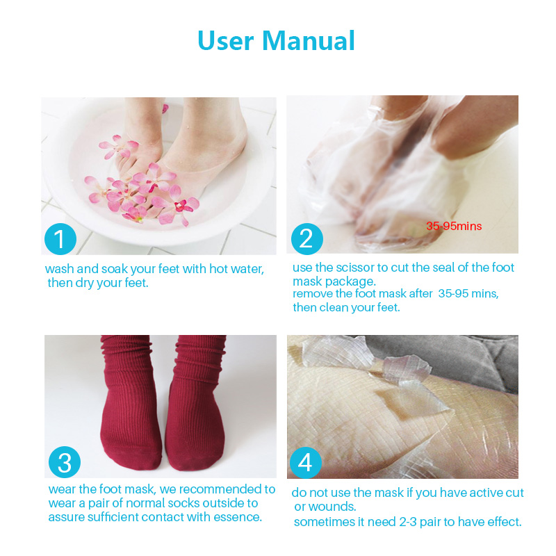 6pcs=3pair Foot Peeling Mask for Legs Exfoliating Socks for Pedicure Spa Socks Foot Cream Heels Remove the Skin Foot Mask