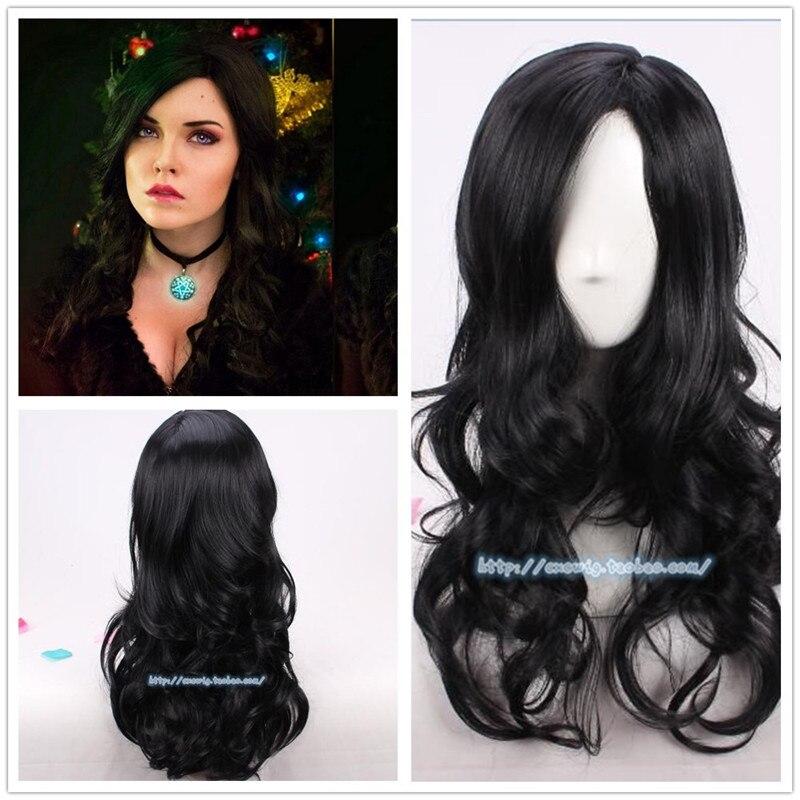 Halloween Cosplay Yennefer Of Vengerberg Black Wavy Wig Women Role Play Black Hair Cosplay Wavy Wig