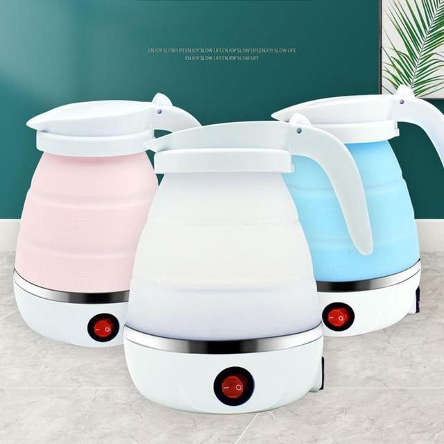 Фото силиконовый складной электрический чайник для кухни термос путешествий цена