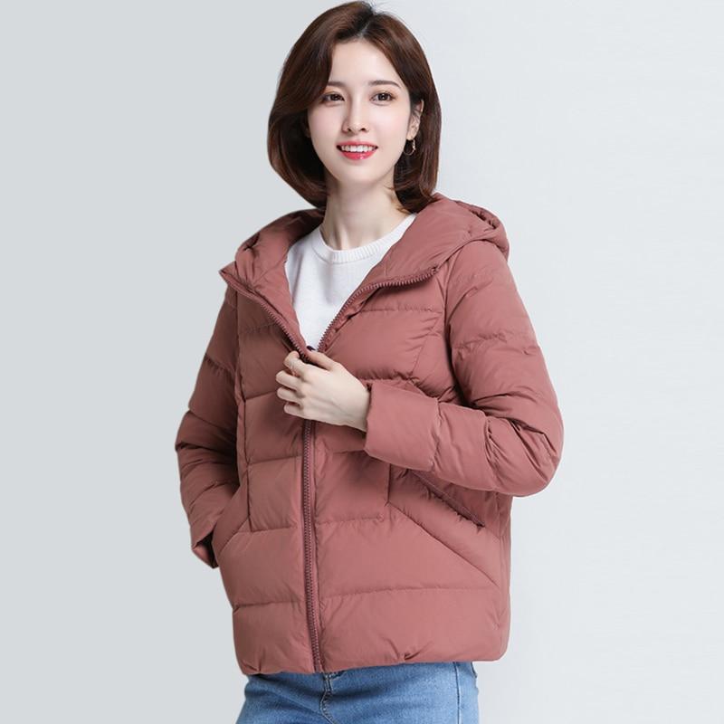 XXXL Autumn And Winter women fashion Hooded 90% White Duck   Down     Coats   women Solid color warm Short Parkas