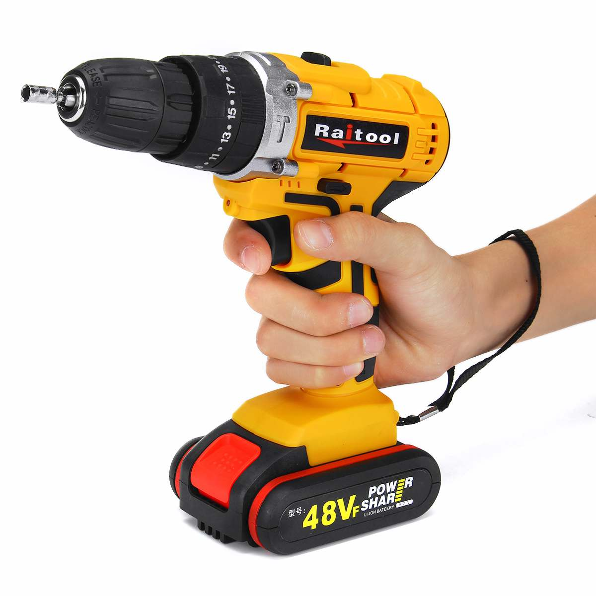 3 In 1 48VF 2 Speed Cordless Drill Electric Screwdriver Wireless Power Driver DC Lithium-Ion Battery With LED Light Raitool