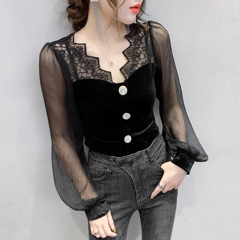 2020 New Spring Korean Clothes Sexy Patchwork Lace T-shirt Women Button Tops Ropa Mujer Pleuche Lantern Sleeve Shirt Tees T02808