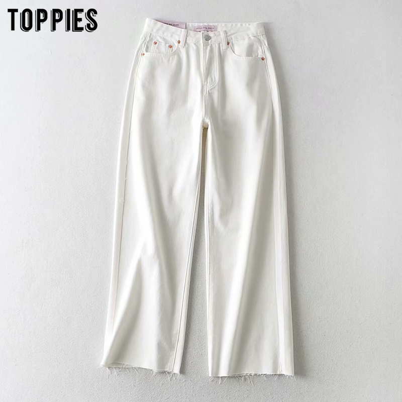 White Jeans Womens Wide Leg Pants High Waist Ripped Tassel Mom Jeans Ankle Length Trousers Streetwear