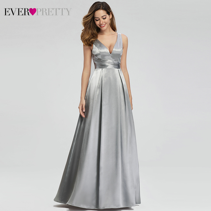 Grey Satin Evening Dresses Long Ever Pretty A-Line Double V-Neck Formal Dresses Women Elegant Party Gowns Robe De Soiree 2020